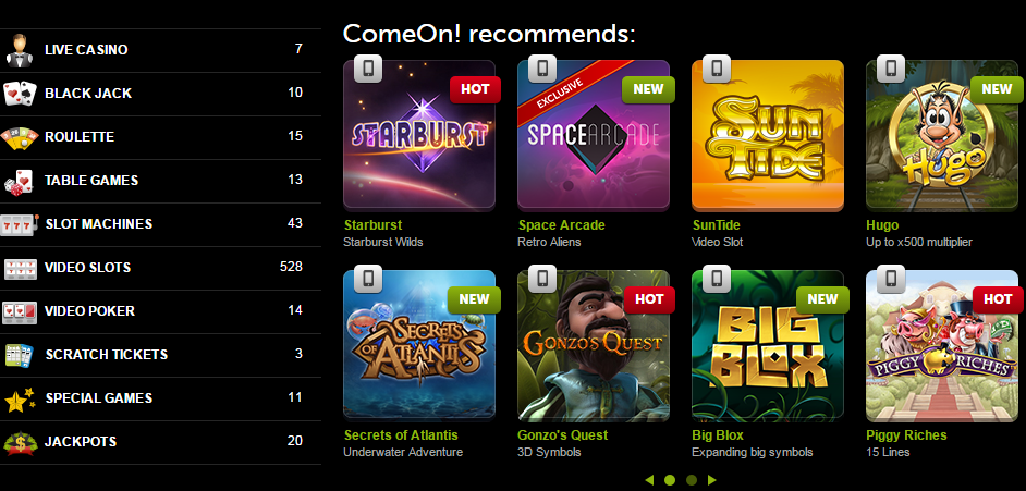 online casino, casino games, ComeOn, bonuses